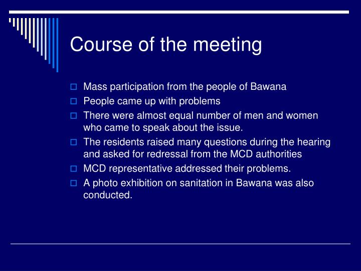 Course of the meeting