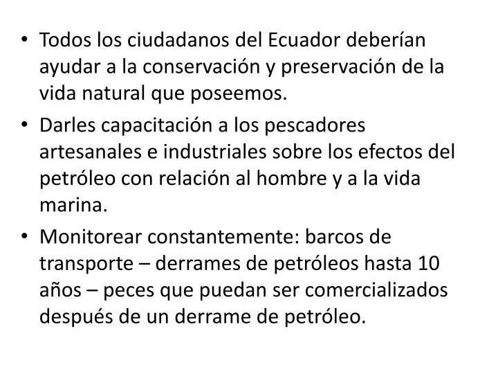 Todos los ciudadanos del Ecuador deberían ayudar a la conservación y preservación de la vida natural que poseemos.