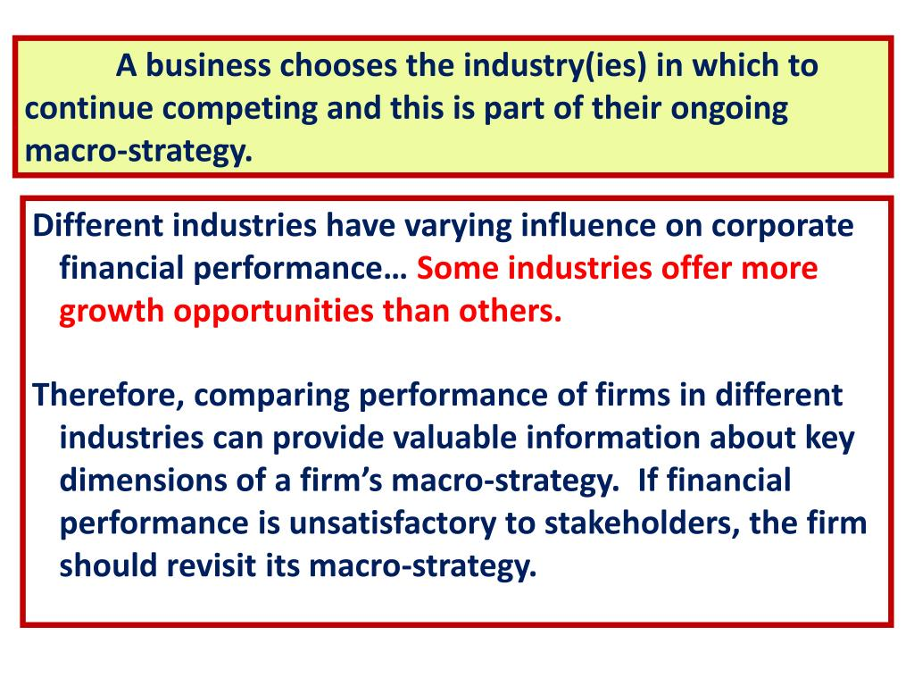 A business chooses the industry(ies) in which to continue competing and this is part of their ongoing macro-strategy.