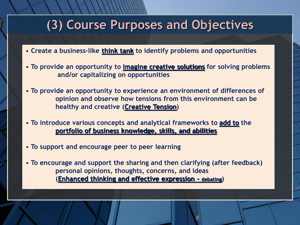 (3) Course Purposes and Objectives