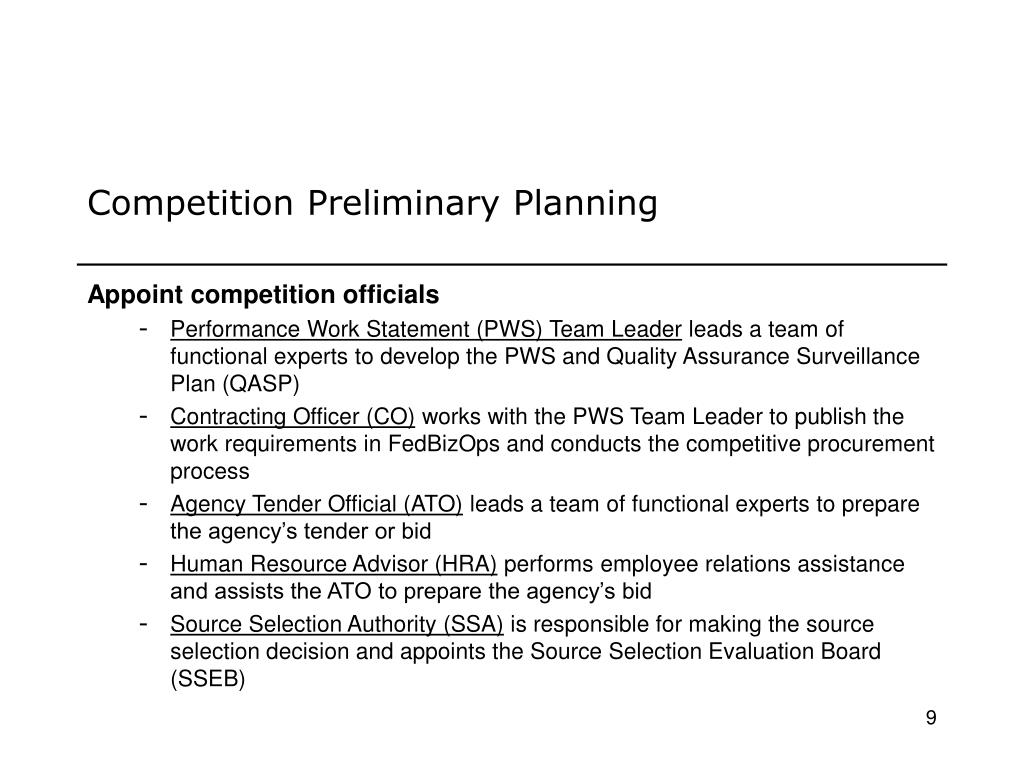 Competition Preliminary Planning