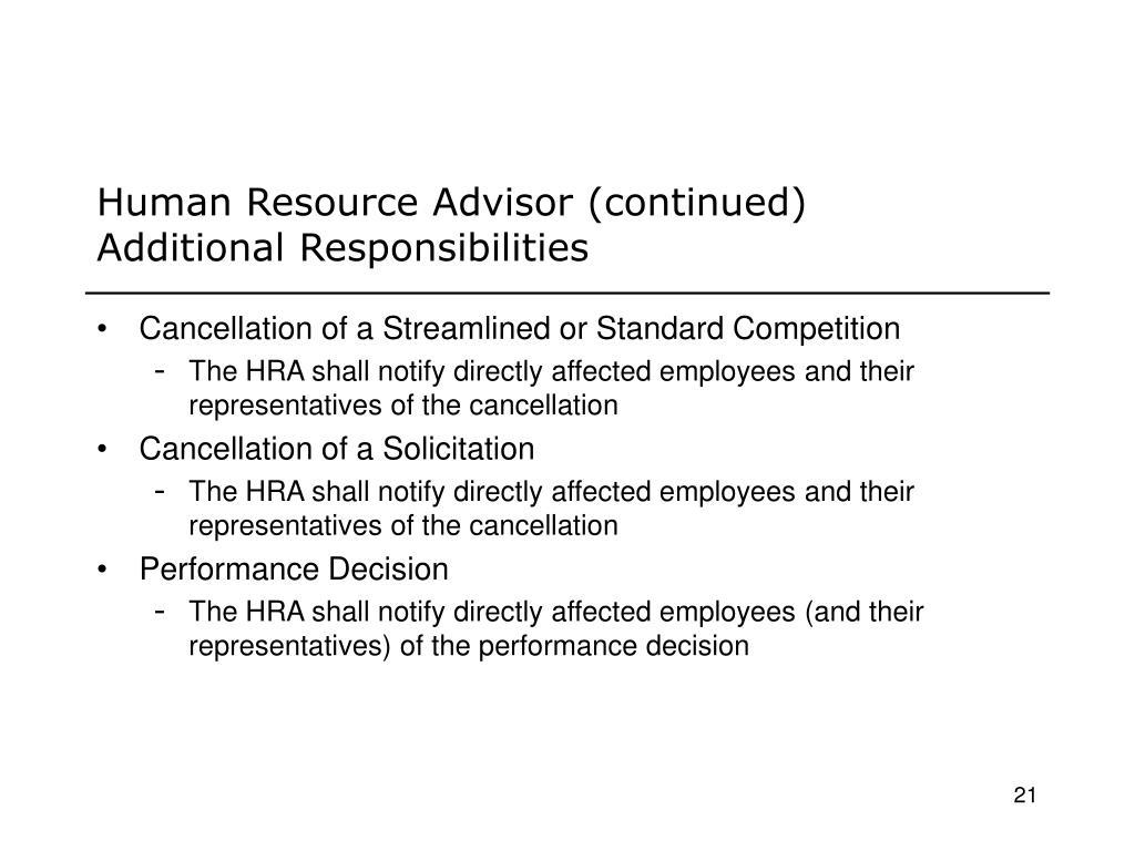Human Resource Advisor (continued)