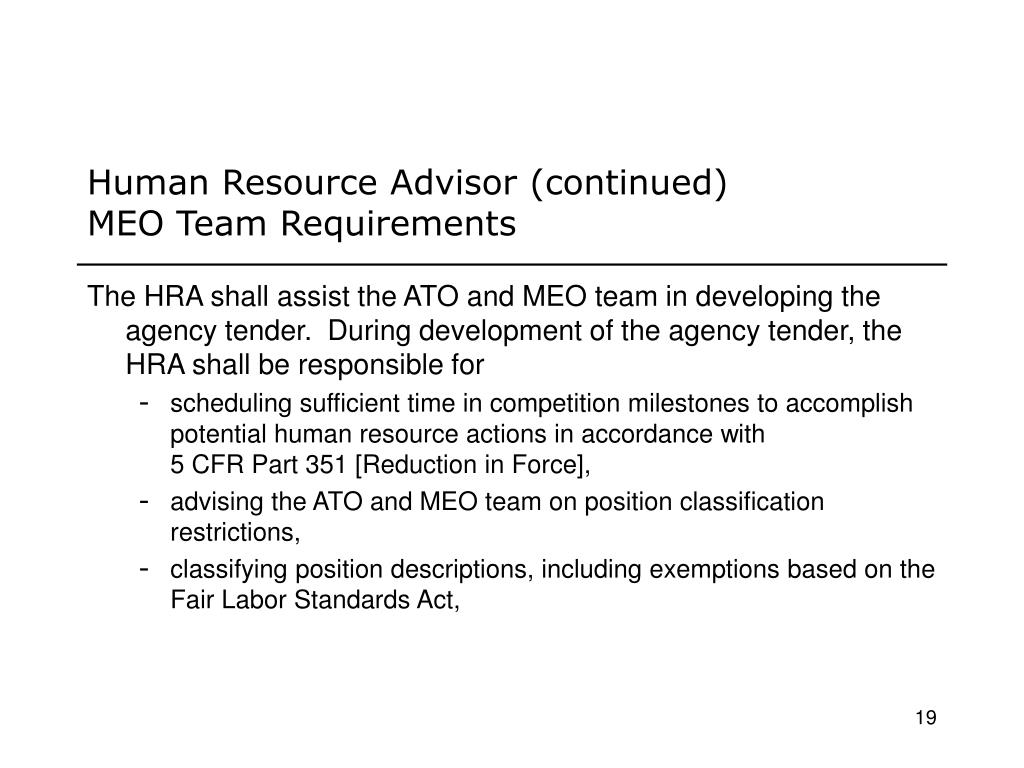Human Resource Advisor (continued)
