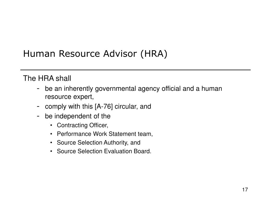 Human Resource Advisor (HRA)