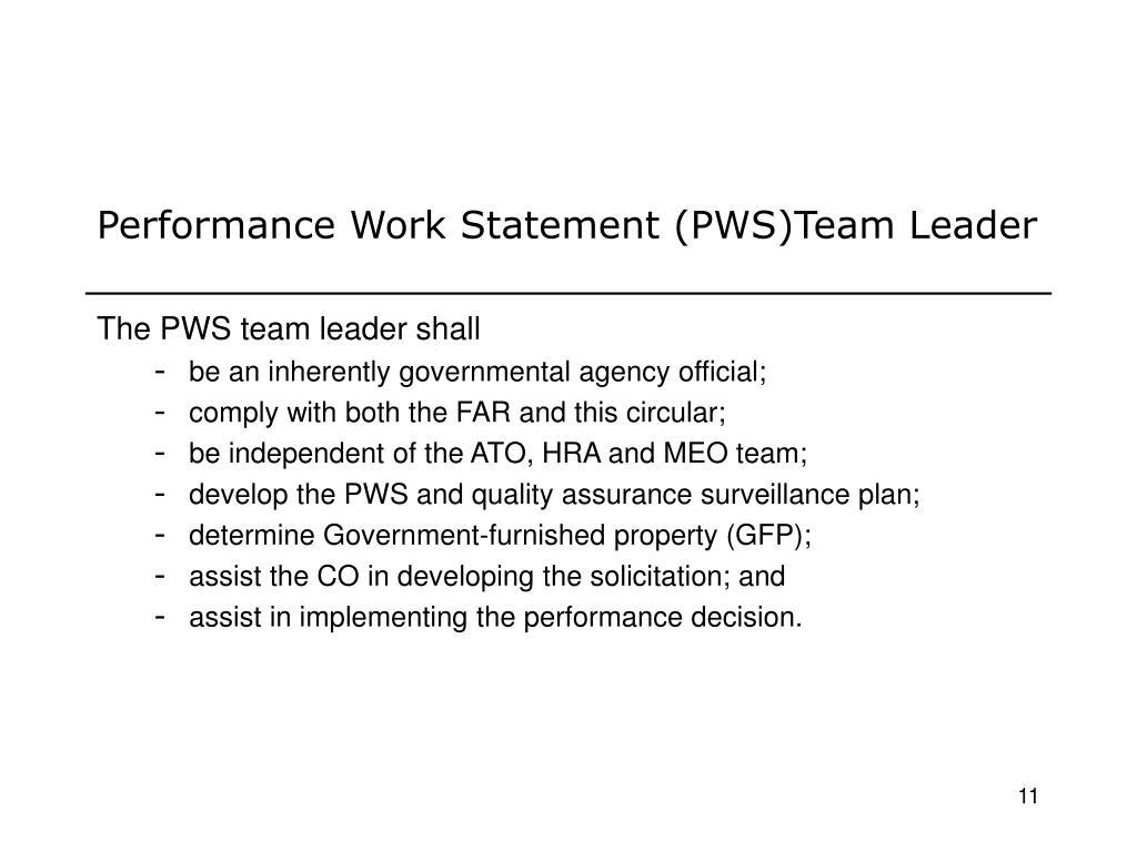 Performance Work Statement (PWS)Team Leader