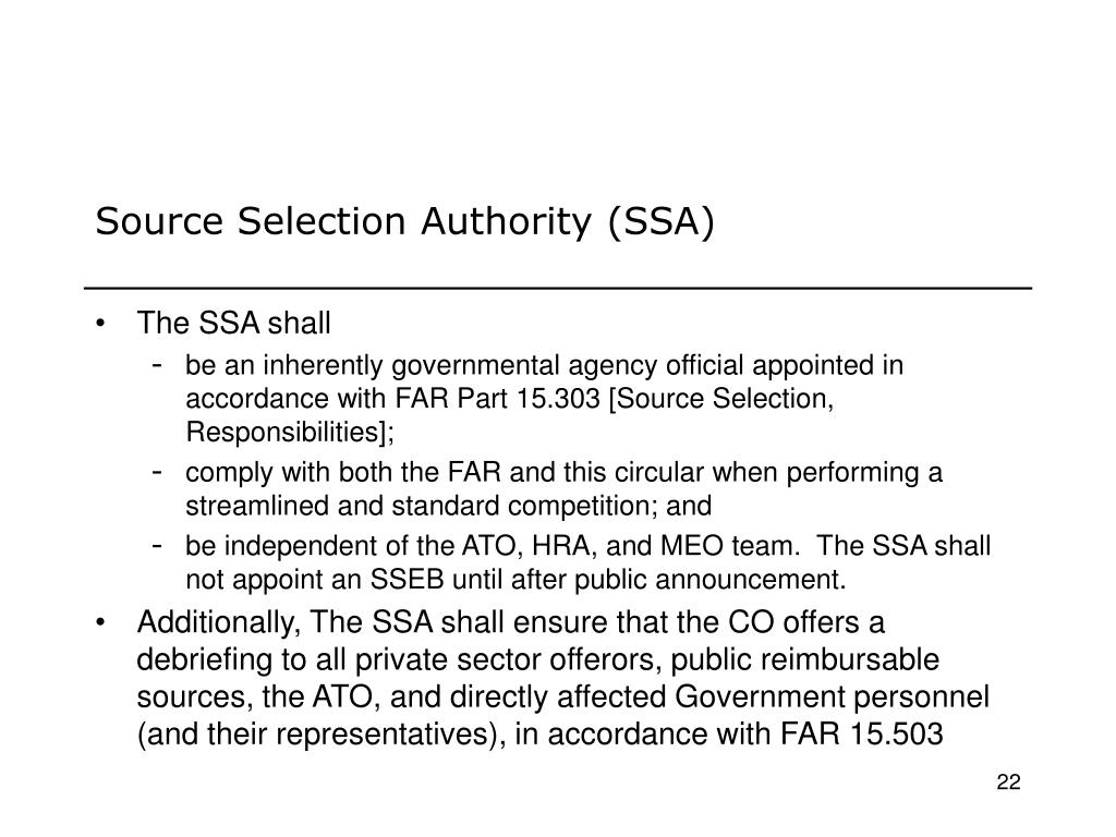 Source Selection Authority (SSA)