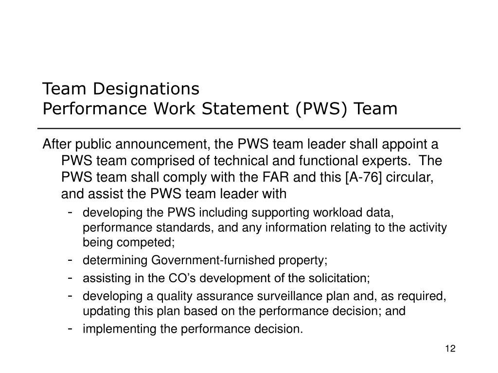 Team Designations