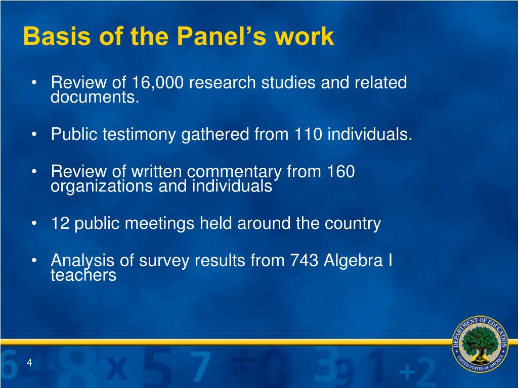 Basis of the Panel's work