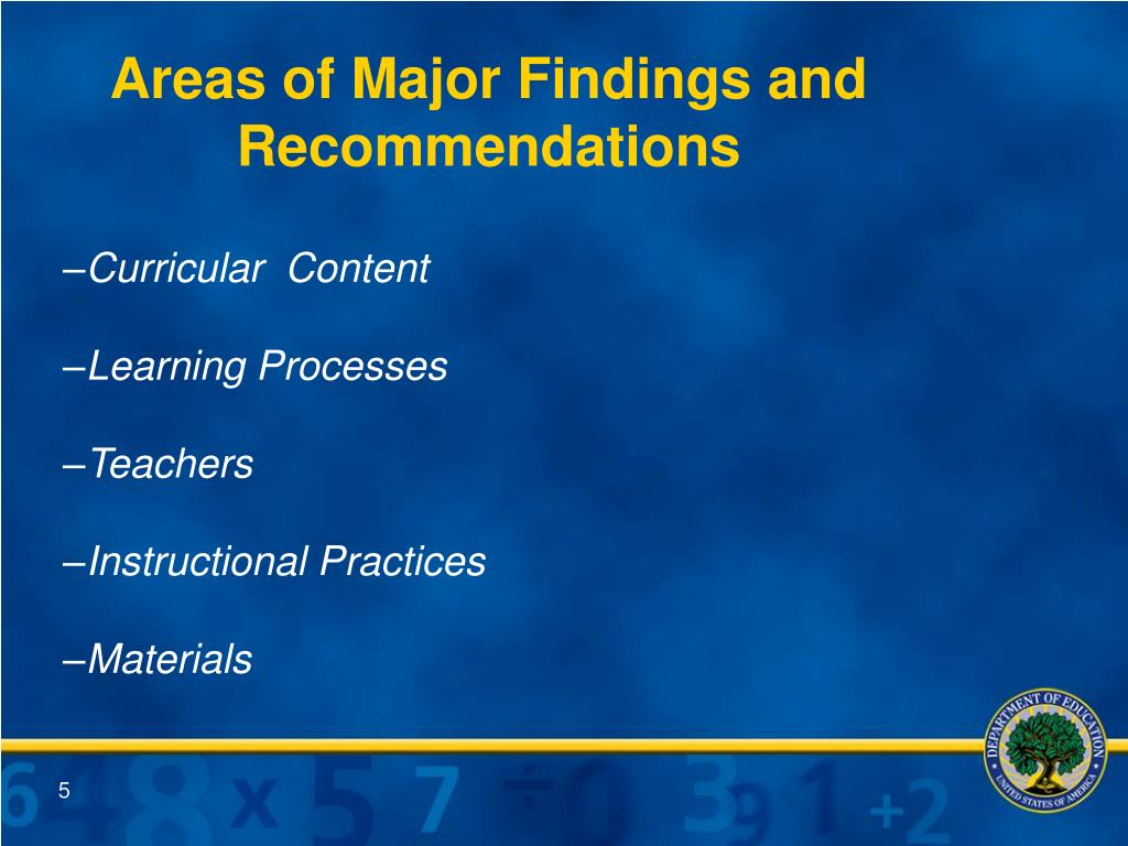 Areas of Major Findings and Recommendations