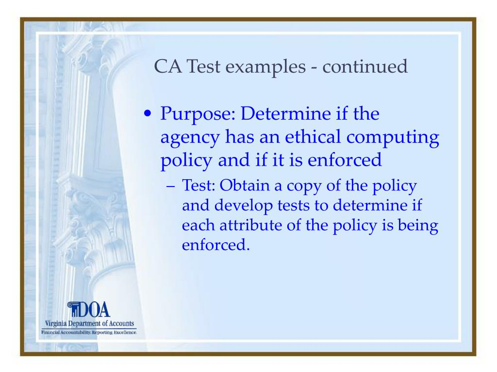 CA Test examples - continued