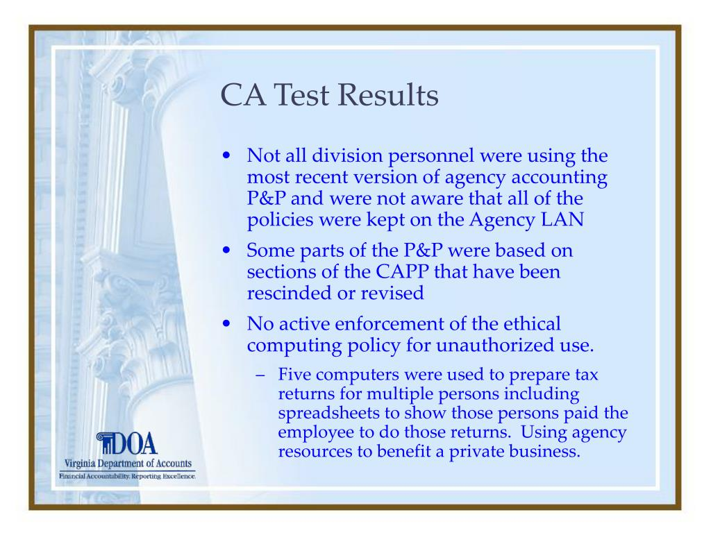 CA Test Results