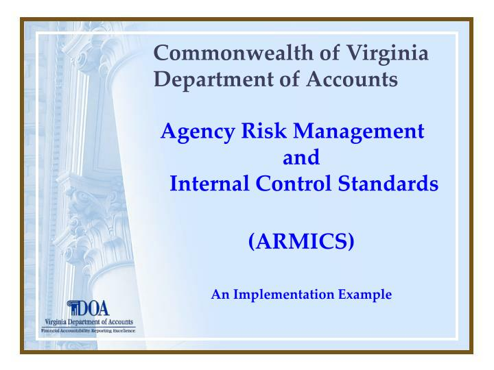 Commonwealth of virginia department of accounts