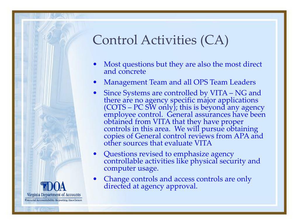 Control Activities (CA)