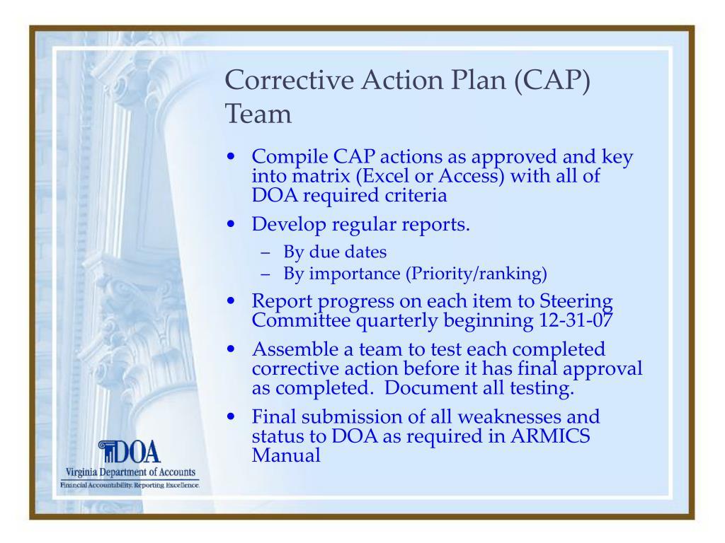Corrective Action Plan (CAP) Team