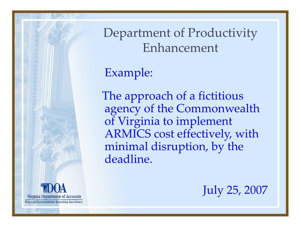 Department of Productivity Enhancement
