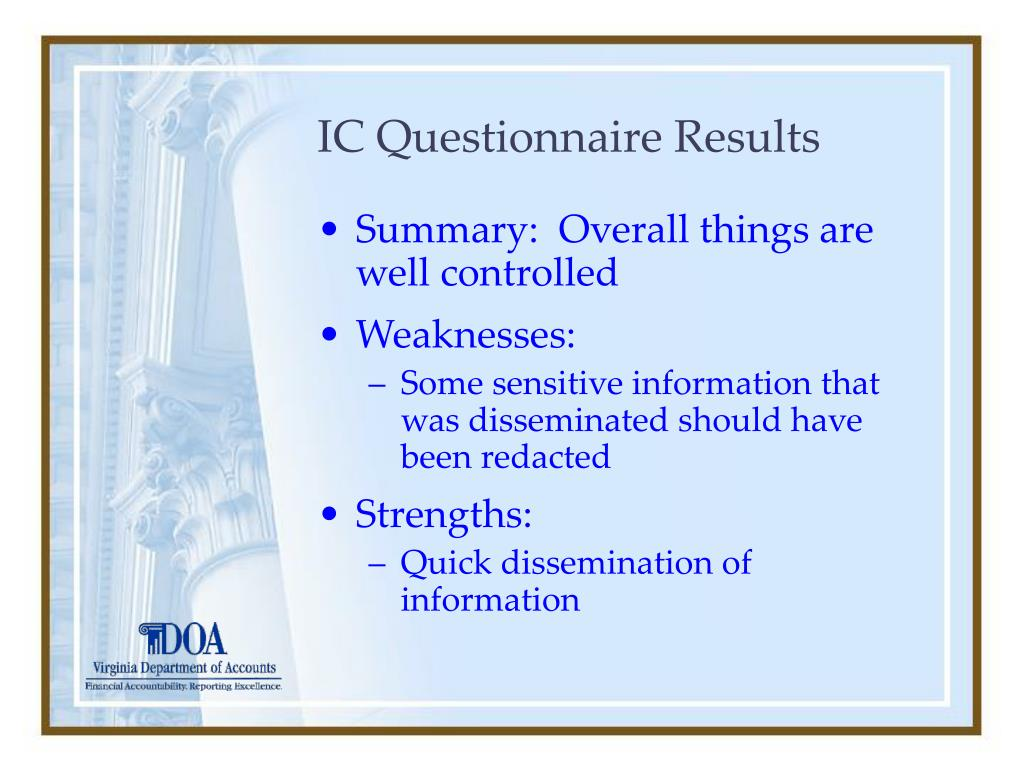 IC Questionnaire Results
