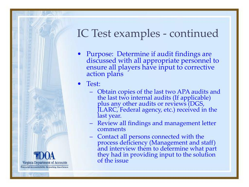 IC Test examples - continued