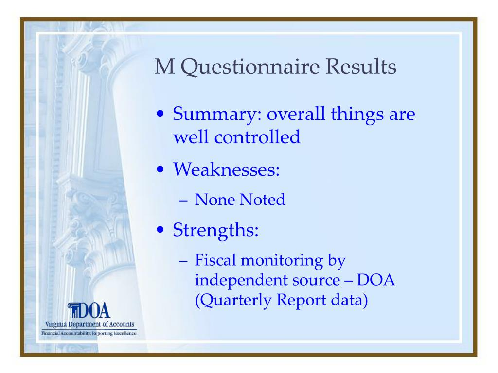 M Questionnaire Results
