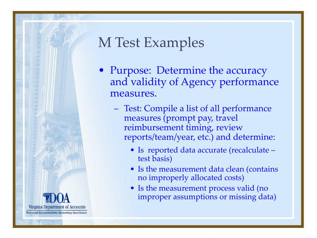 M Test Examples