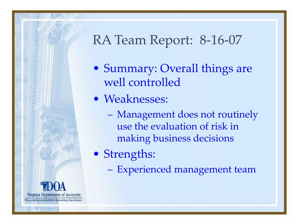 RA Team Report:  8-16-07