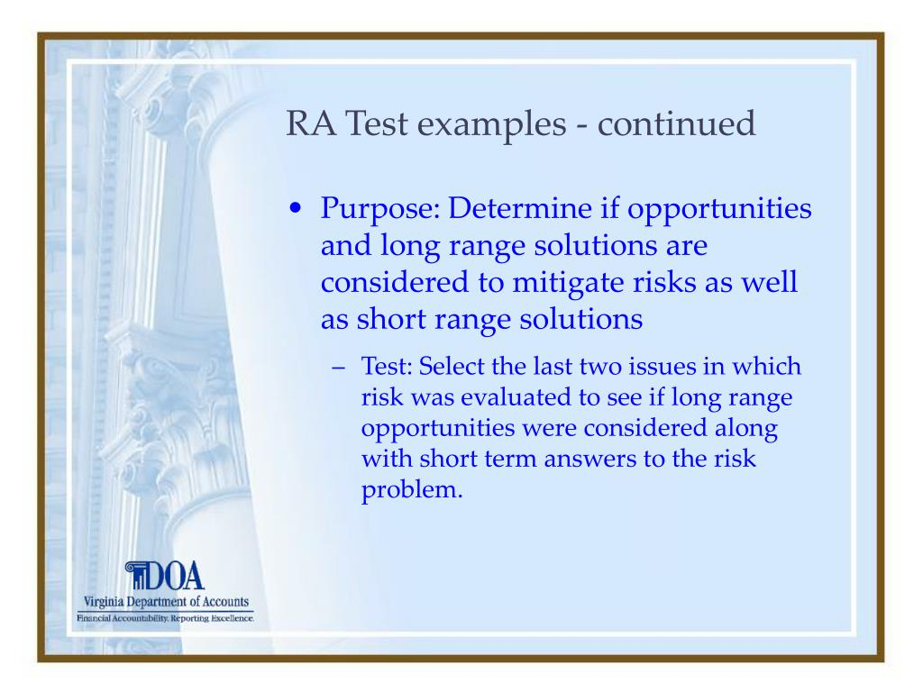 RA Test examples - continued