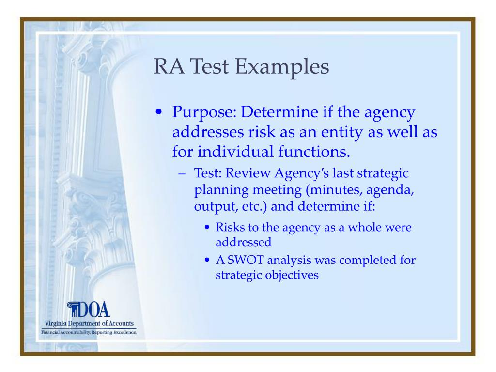RA Test Examples