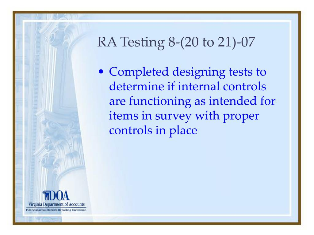 RA Testing 8-(20 to 21)-07