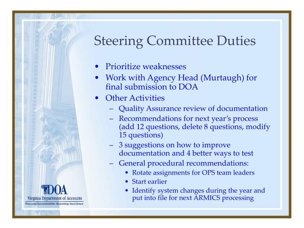 Steering Committee Duties
