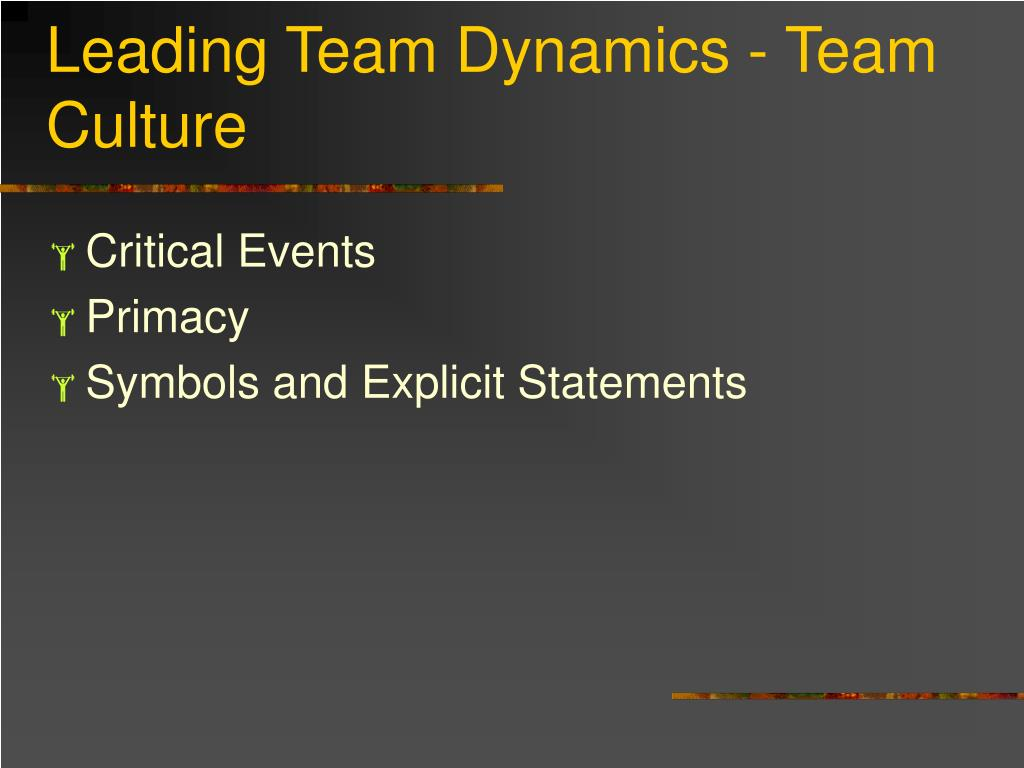 Leading Team Dynamics - Team Culture