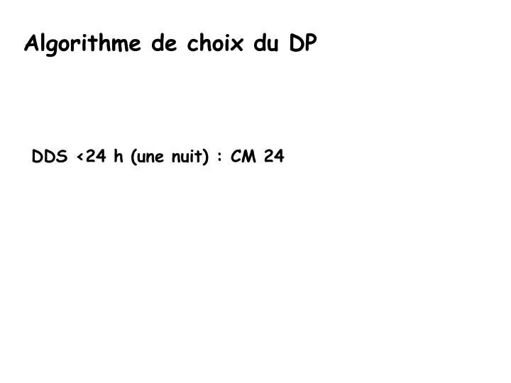 Algorithme de choix du DP