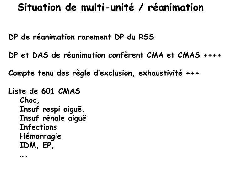 Situation de multi-unité / réanimation