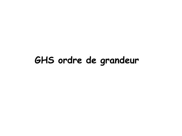 GHS ordre de grandeur