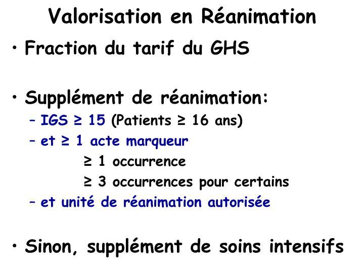 Valorisation en Réanimation