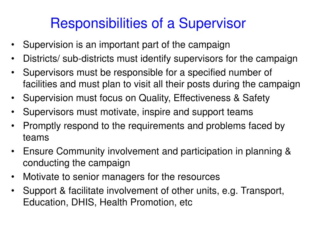 Responsibilities of a Supervisor