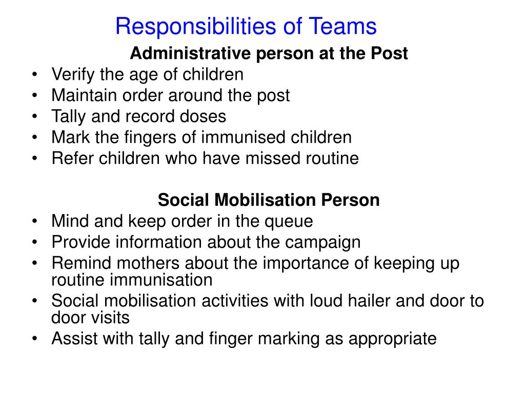Responsibilities of Teams