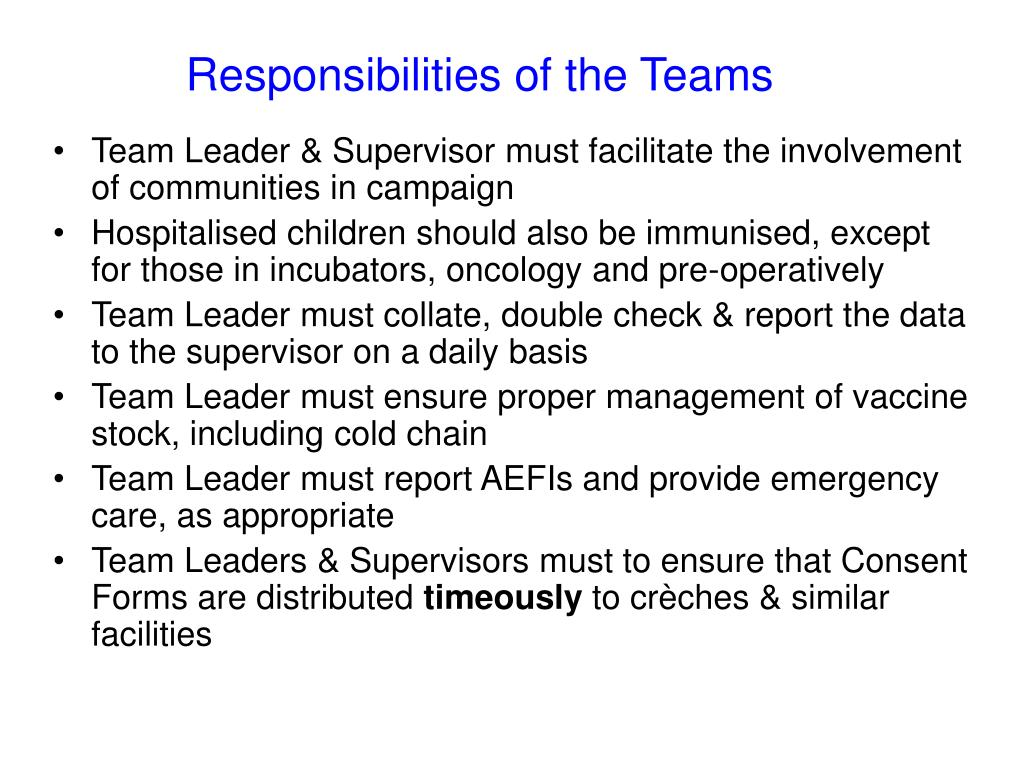 Responsibilities of the Teams
