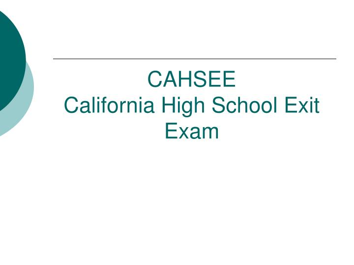 cahsee released questions english essay
