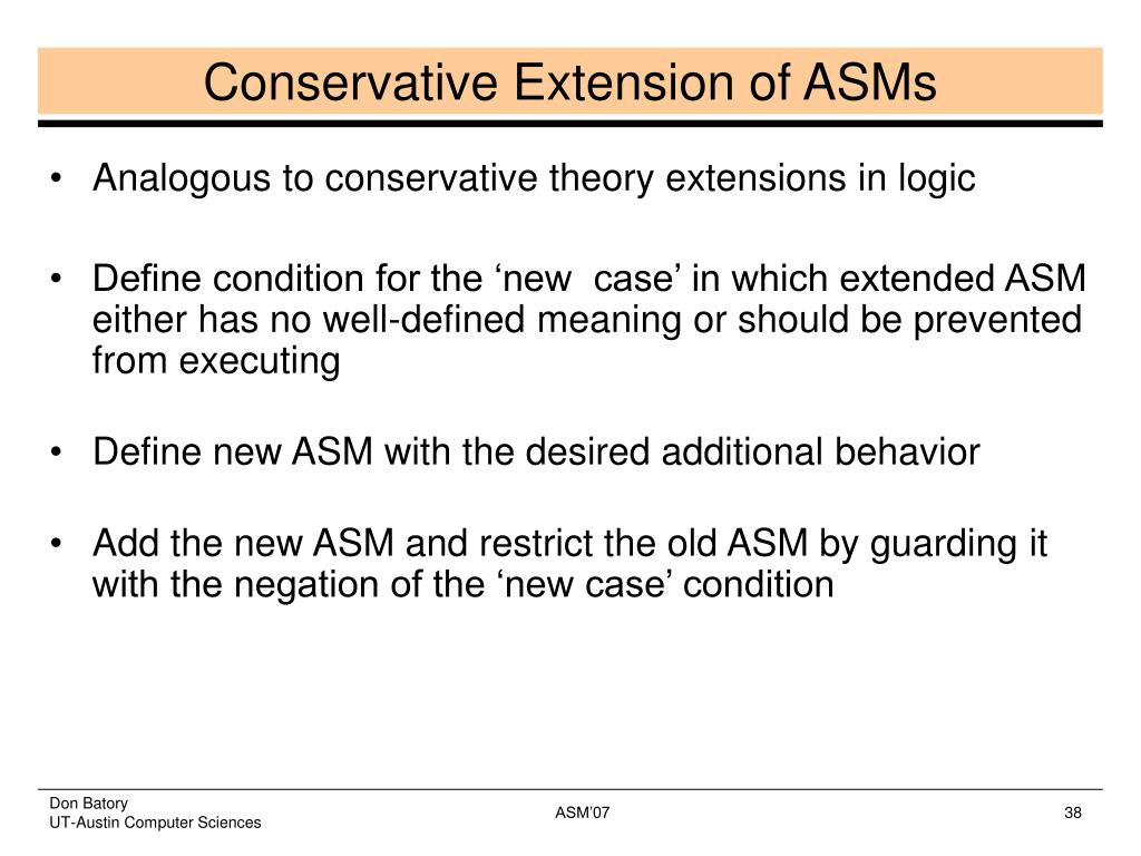 Conservative Extension of ASMs