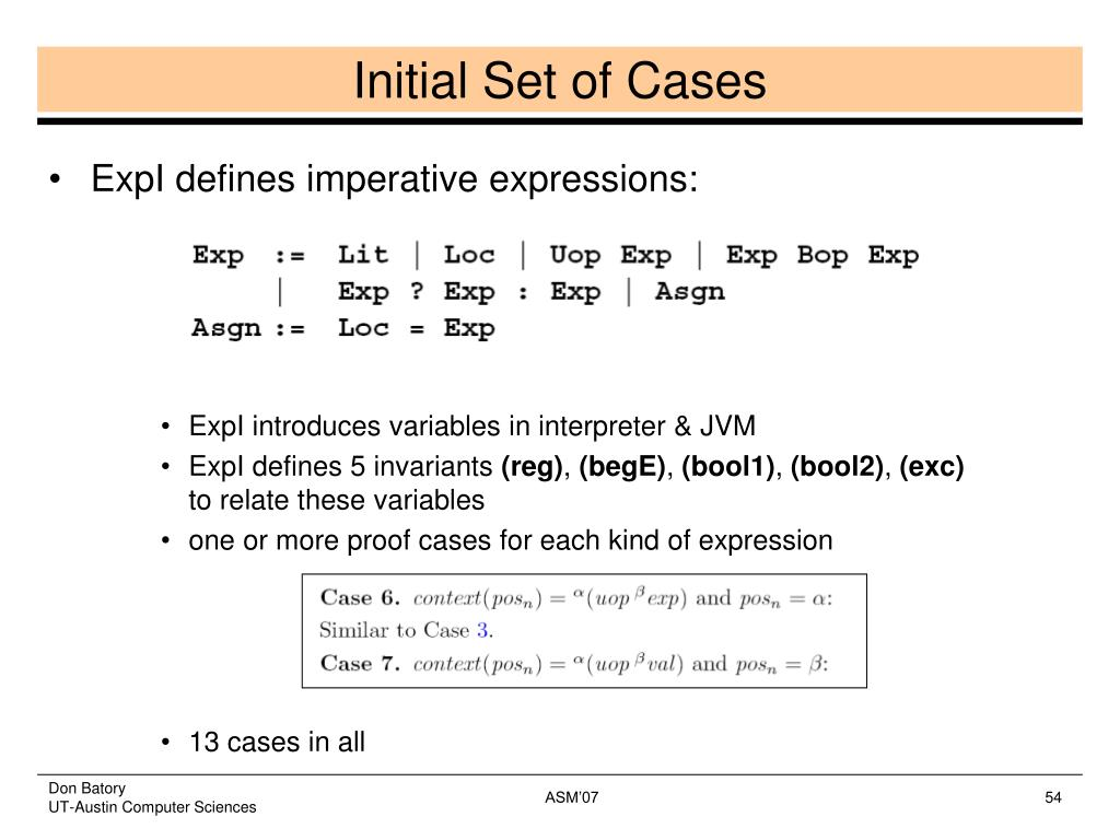 Initial Set of Cases