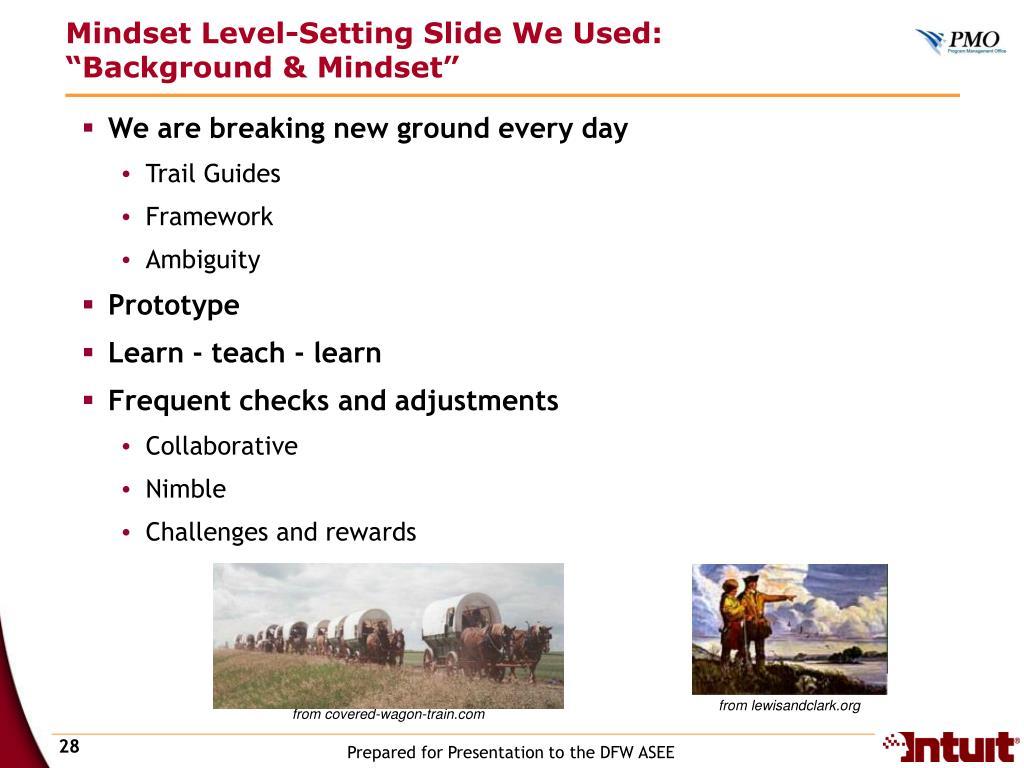 Mindset Level-Setting Slide We Used: