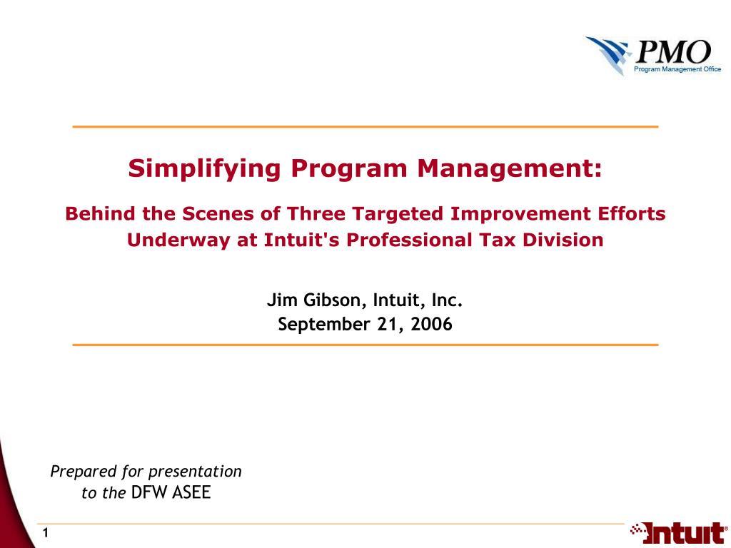 Simplifying Program Management: