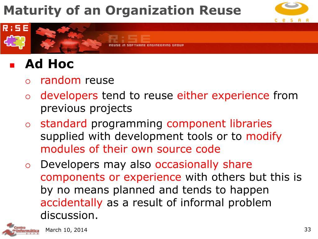 Maturity of an Organization Reuse