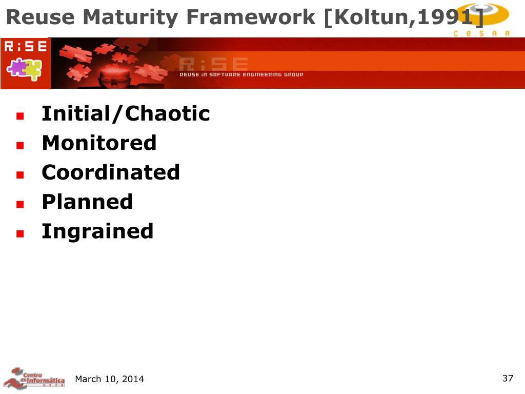 Reuse Maturity Framework [Koltun,1991]