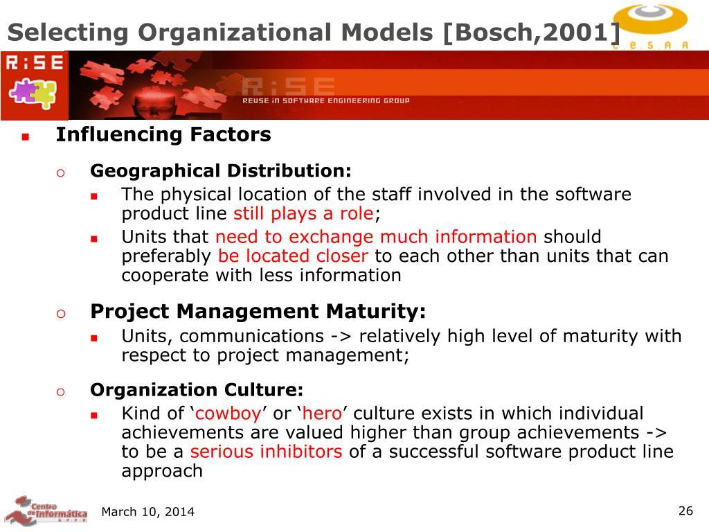 Selecting Organizational Models [Bosch,2001]