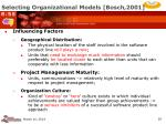 selecting organizational models bosch 2001