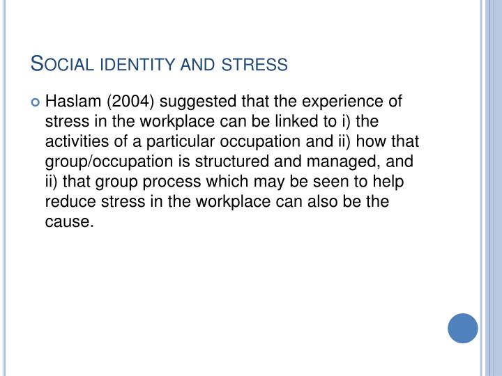 Social identity and stress