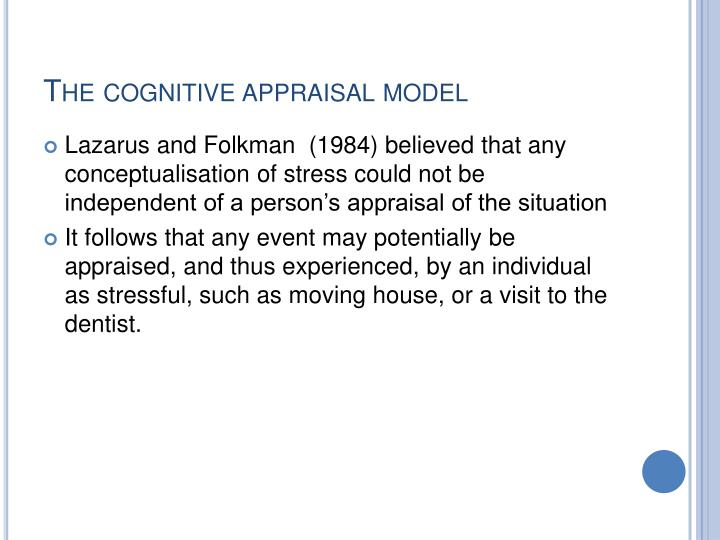 The cognitive appraisal model