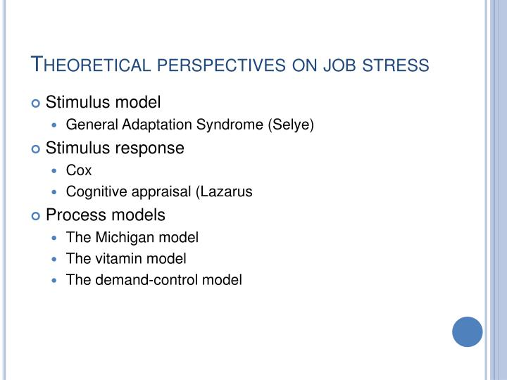Theoretical perspectives on job stress