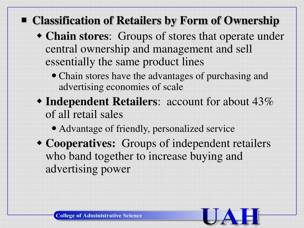 Classification of Retailers by Form of Ownership
