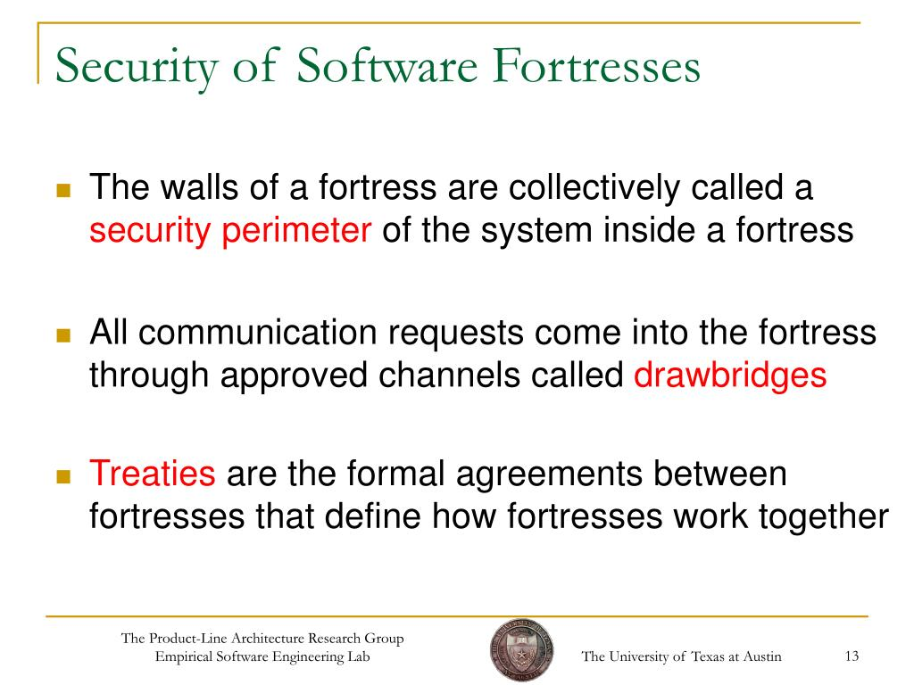 Security of Software Fortresses